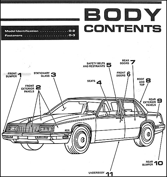 1989BuickLeSabreOBM TOC 1989 buick lesabre & electra park avenue body repair shop manual 1989 buick lesabre wiring diagram at n-0.co