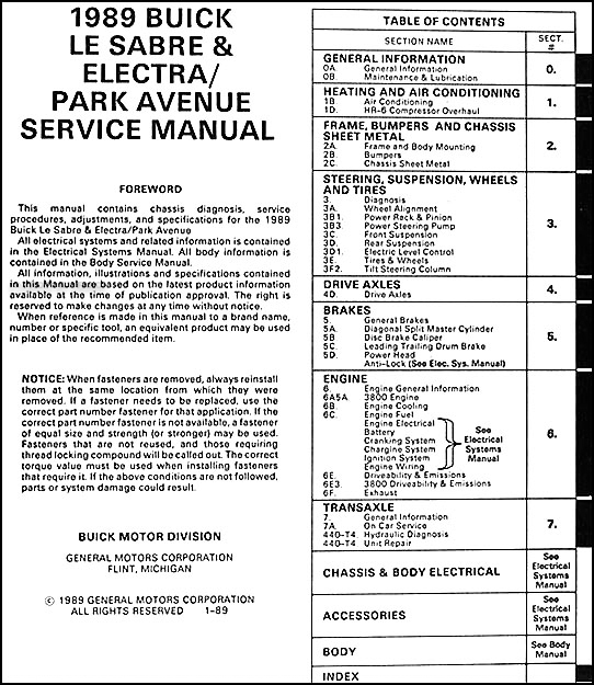 1989BuickLeSabreORM TOC 1989 buick lesabre & electra park avenue repair shop manual original 1989 buick lesabre stereo wiring diagram at honlapkeszites.co