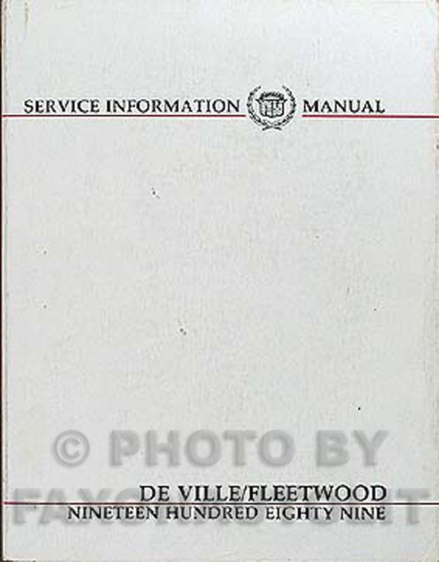 1989 Cadillac De Ville & Fleetwood Shop Manual Original