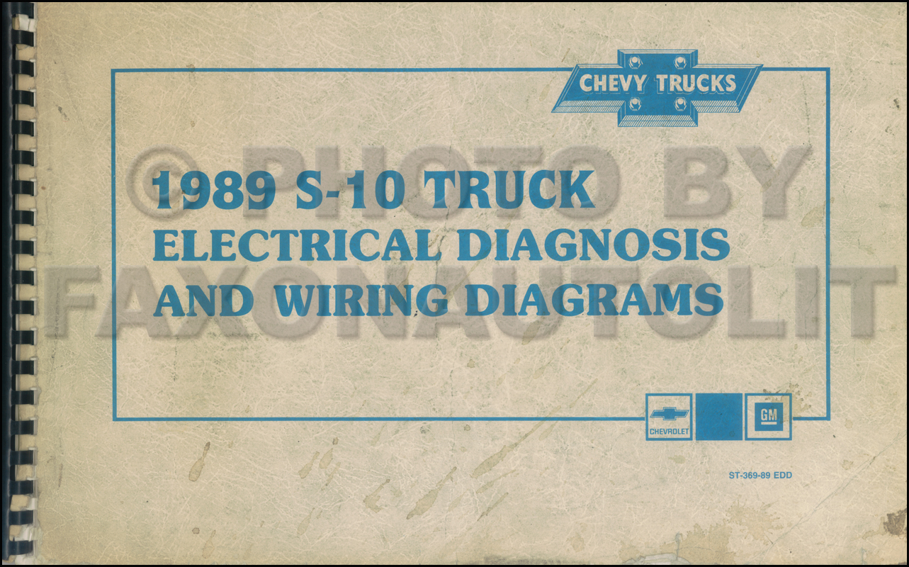1989 Chevy S 10 Pickup Blazer Wiring Diagram Manual Original Schematics