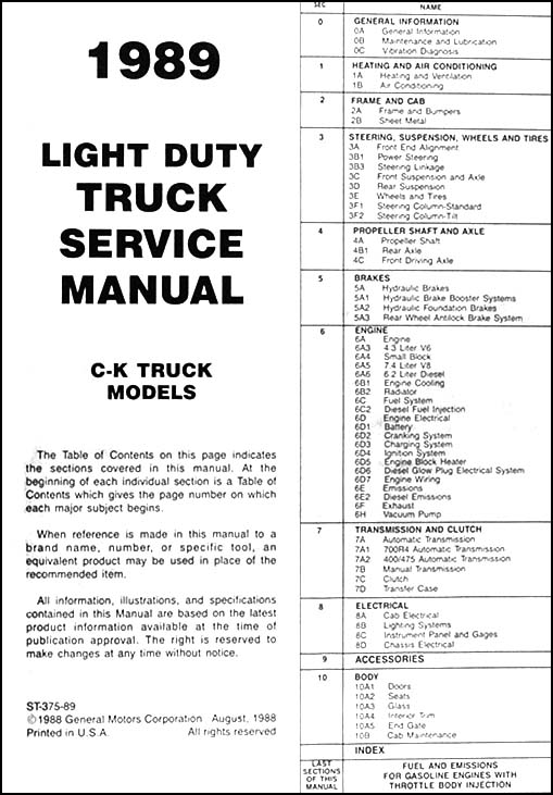 1989 chevrolet c  k pickup truck repair shop manual original