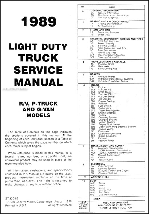 1989 Chevy Truck Repair Shop Manual Original Pickup Blazer Suburban Van FC P14193 on 1994 chevy truck wiring schematics