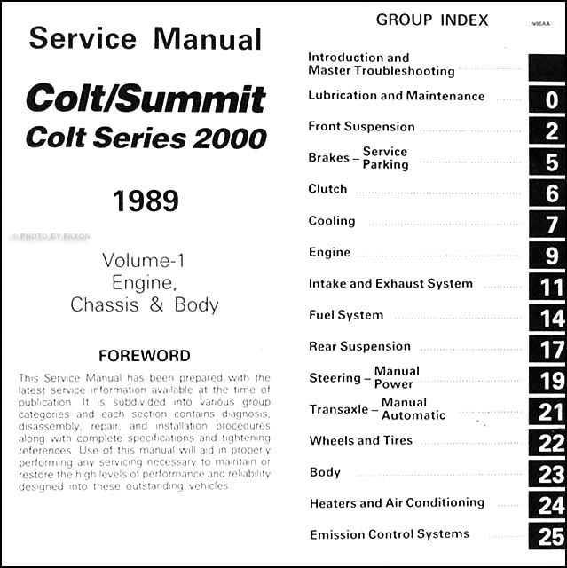 1989DodgeColtORM TOC1 1989 colt, 2000, & summit repair shop manual original 2 volume set Dodge Ram Wiring Diagram at panicattacktreatment.co