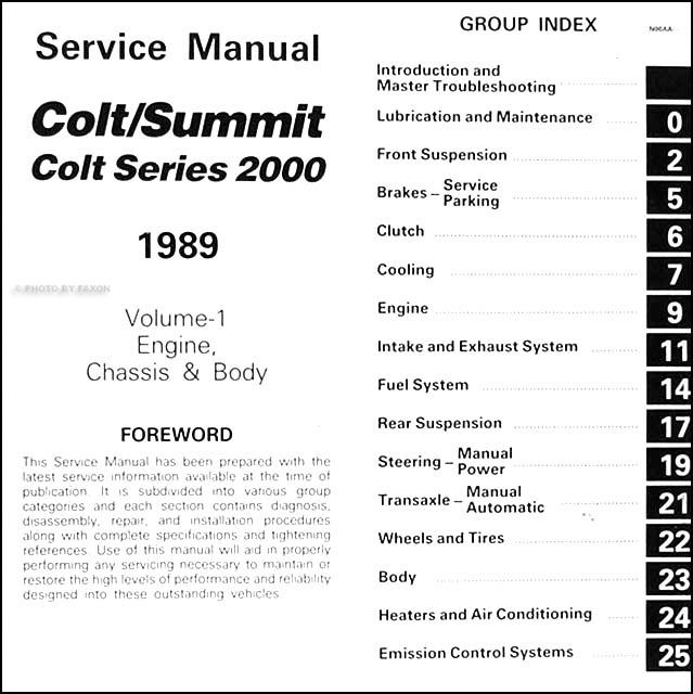 1989DodgeColtORM TOC1 1989 colt, 2000, & summit repair shop manual original 2 volume set Dodge Ram Wiring Diagram at n-0.co