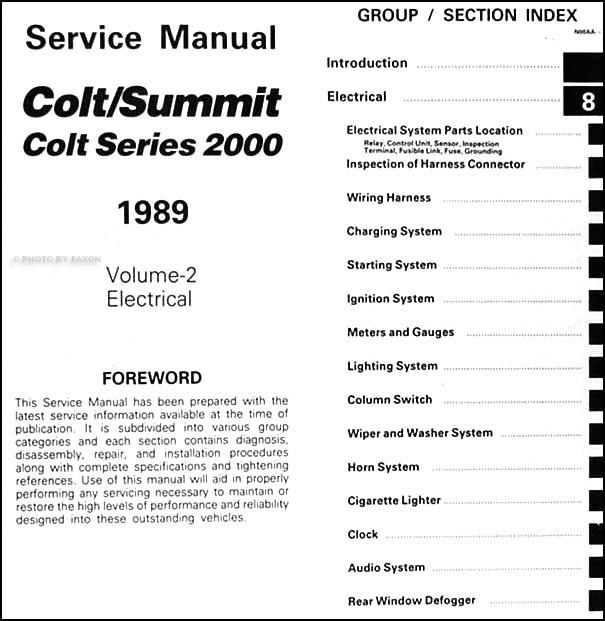 1989DodgeColtORM TOC2 1989 colt, 2000, & summit repair shop manual original 2 volume set Dodge Ram Wiring Diagram at n-0.co