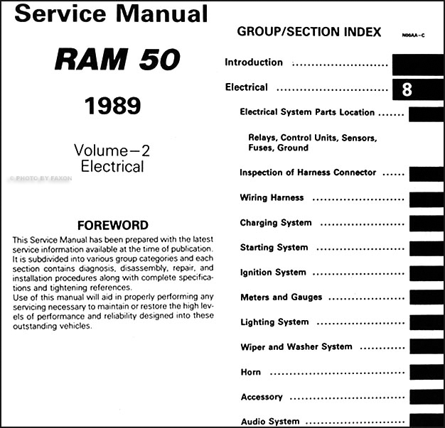 1989 dodge ram 50 truck repair shop manual original 2 volume set 1989 ford bronco ii wiring diagram table of contents page 2