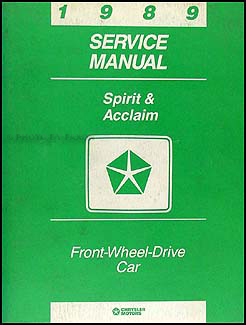 1989 dodge spirit plymouth acclaim repair shop manual original. Black Bedroom Furniture Sets. Home Design Ideas