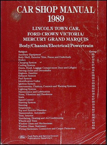 1989 lincoln town car ford crown victoria mercury grand marquis repair shop manual original. Black Bedroom Furniture Sets. Home Design Ideas