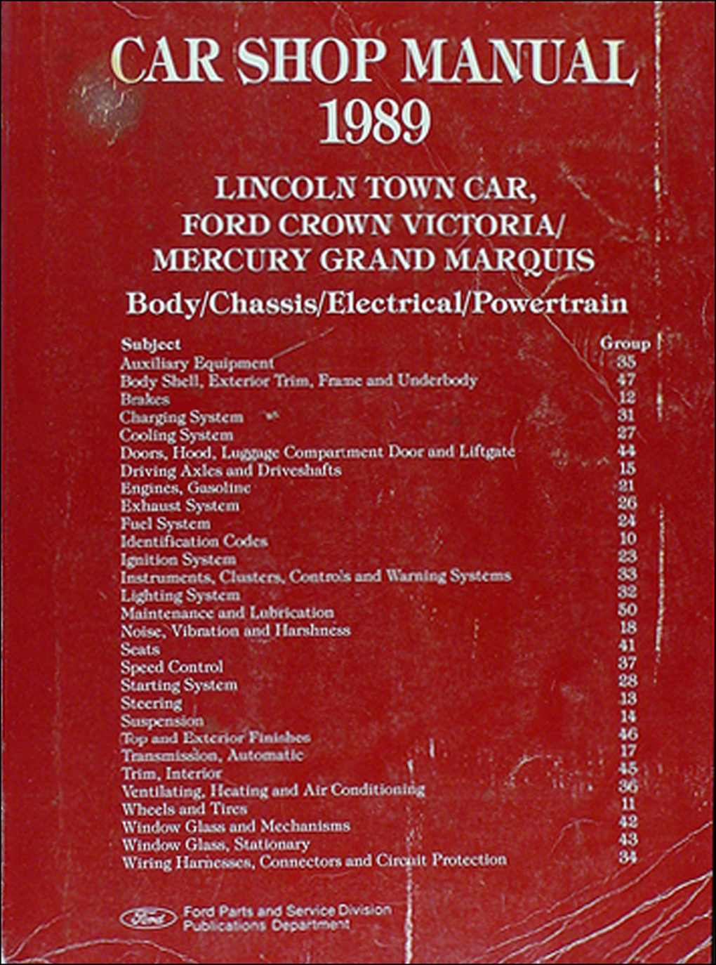 1989 Lincoln Town Car Ford Crown Victoria Mercury Grand Marquis On A Fuse Box Amp Shop Manual