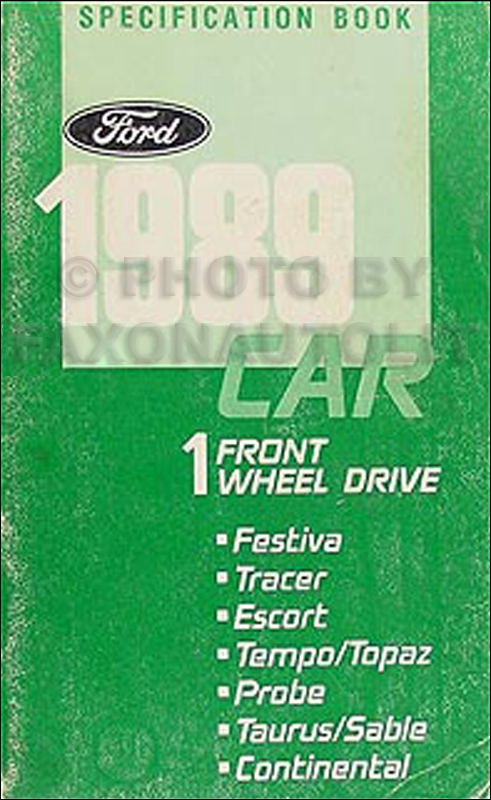 1989 Ford Lincoln Mercury FWD Car Service Specifications Book Original