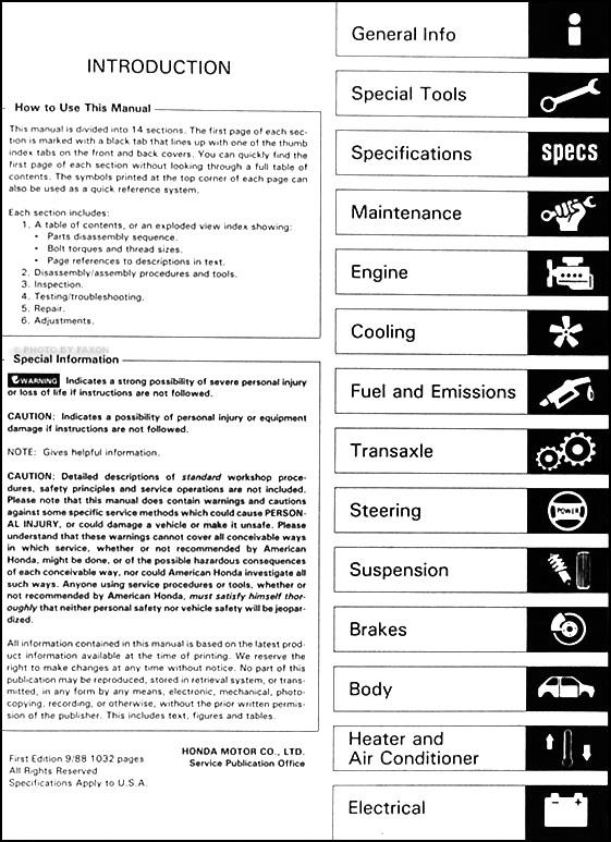 1989 honda accord repair shop manual original rh faxonautoliterature com 1989 honda accord lxi service manual 1989 honda accord service manual
