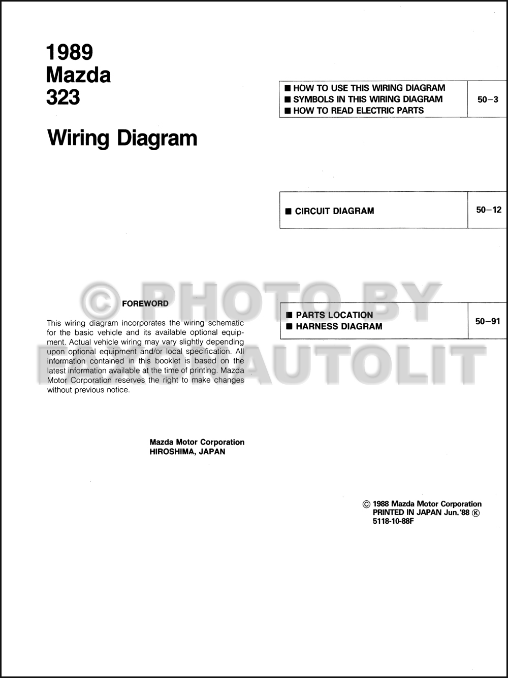 1989 Mazda 323 Wiring Diagram Manual Original