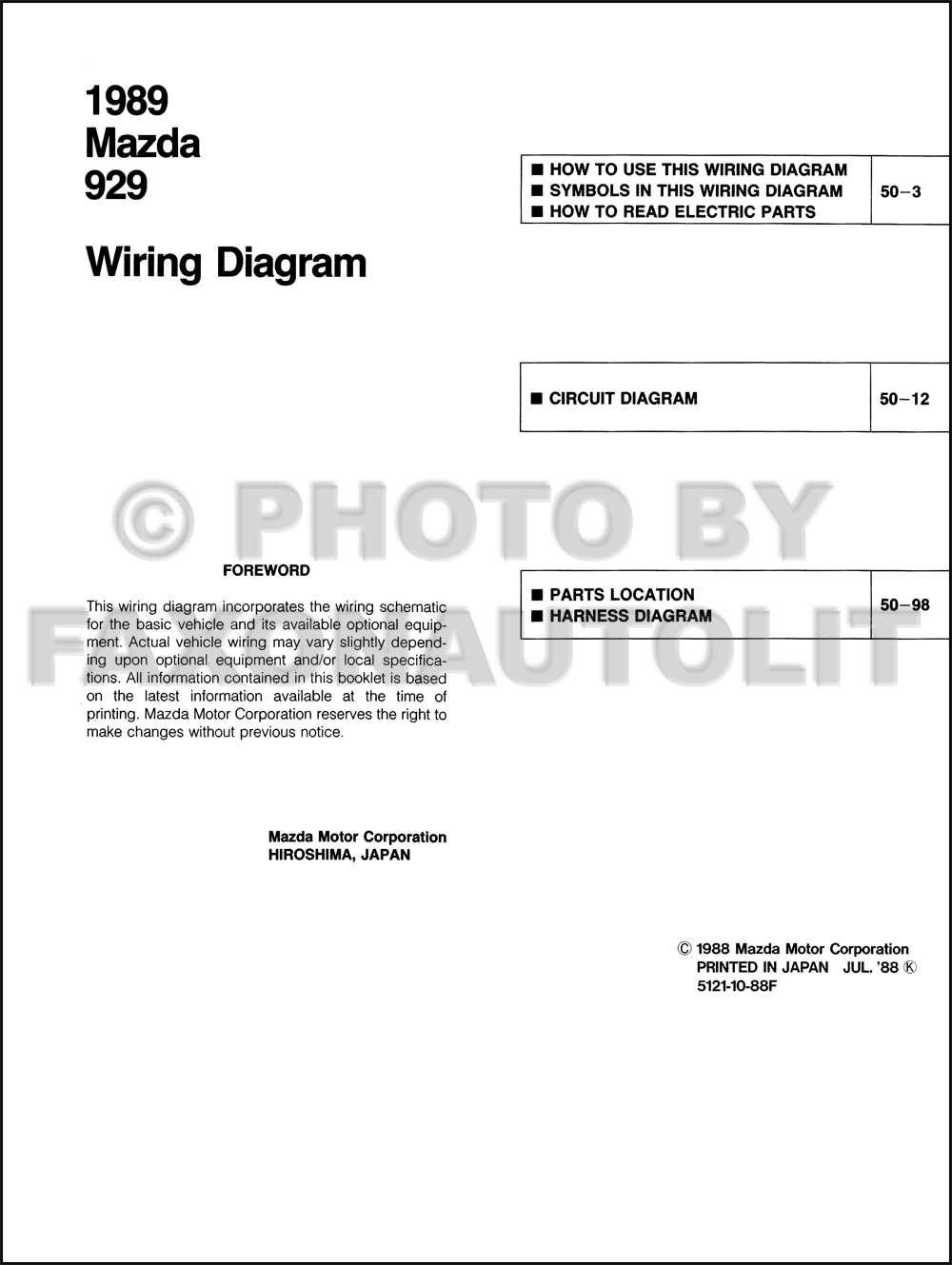 1989 Mazda 929 Wiring Diagram Manual Original
