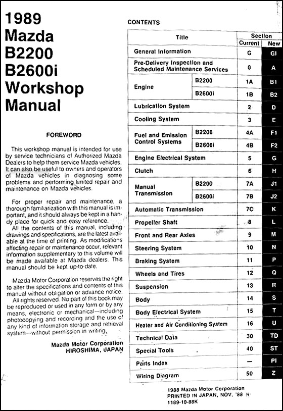 1989MazdaB SeriesORM TOC mazda b2200 manual 100 images how do i bypass the computer of 1990 mazda b2200 fuse box diagram at eliteediting.co