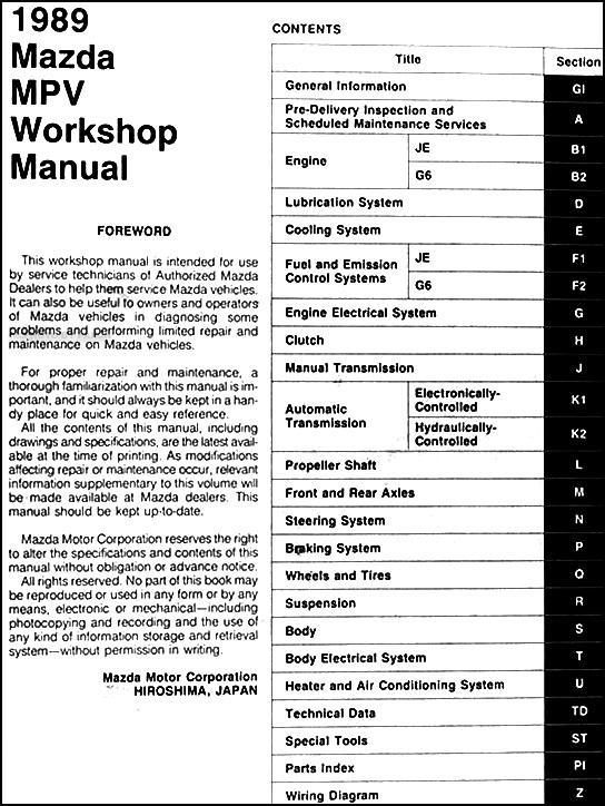 1989 mazda mpv repair shop manual original rh faxonautoliterature com 2003 mazda mpv repair manual 2003 mazda mpv repair manual