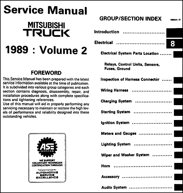 1989 mitsubishi truck repair shop manual set original