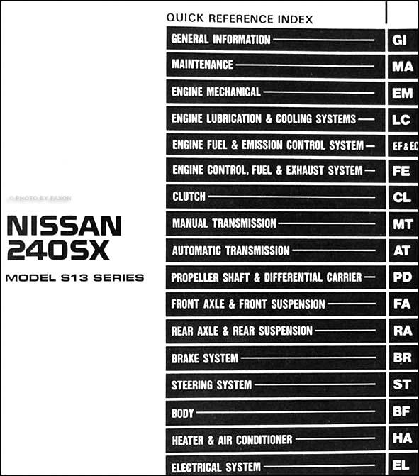1989 Nissan 240sx Repair Shop Manual Original