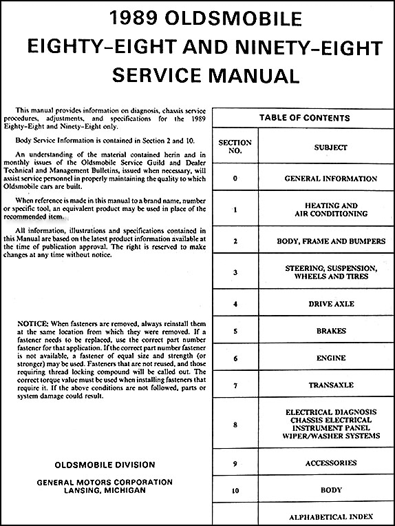 1989Olds98ORM TOC 1989 oldsmobile 88 royale, ninety eight regency repair shop manual  at fashall.co