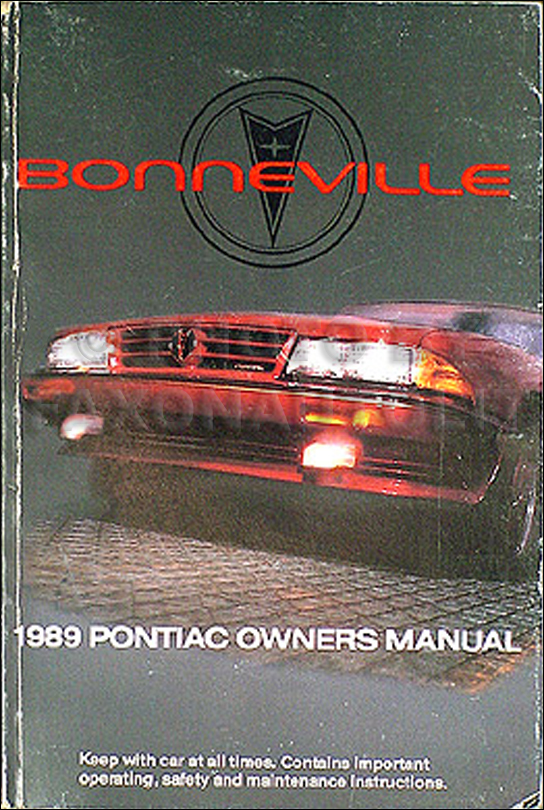 1989 Pontiac Bonneville Original Owner's Manual 89 LE SE SSE