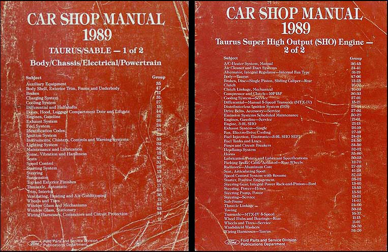 1989 Ford Taurus Sho Original Shop Manual 2 Volume Set 89 Repair Service Books