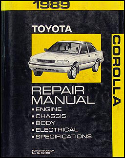 1989 toyota corolla wiring diagram manual original 1989 toyota corolla repair shop manual original