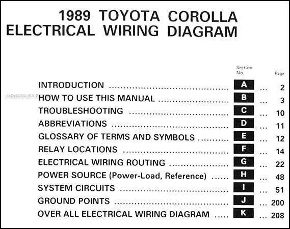 1989       Toyota       Corolla    Wiring    Diagram    Manual Original