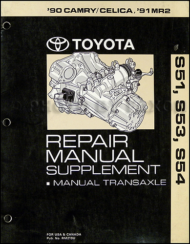 1990 Toyota Camry  Celica  1991 Mr2 Manual Transmission Repair Shop Manual Original
