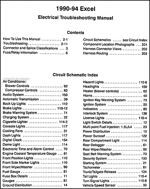 1990   1994       Hyundai       Excel    Electrical Troubleshooting Manual