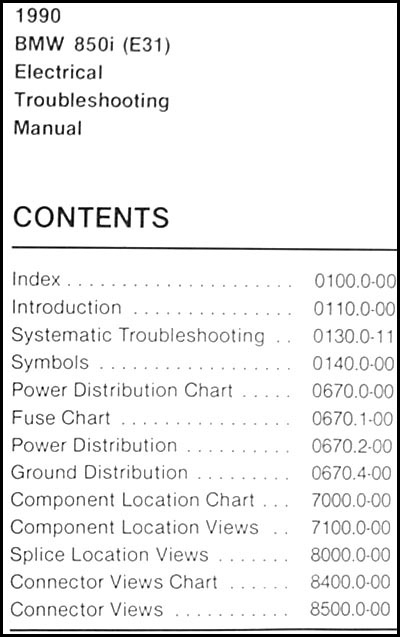 1990 Bmw 850i Electrical Troubleshooting Manual