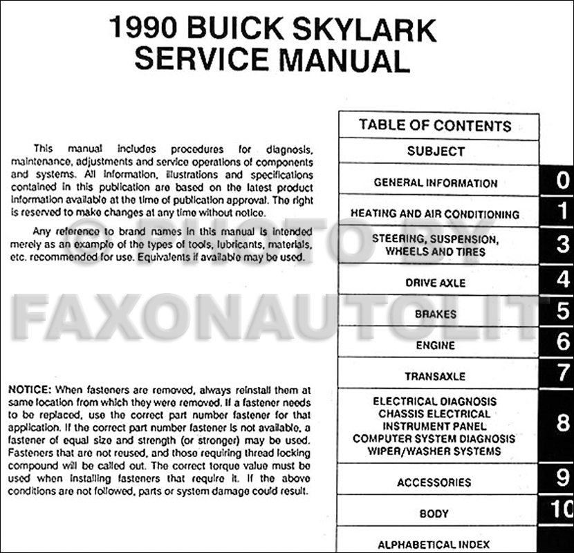 1990 buick skylark repair shop manual original 1990 skylark fuse diagram