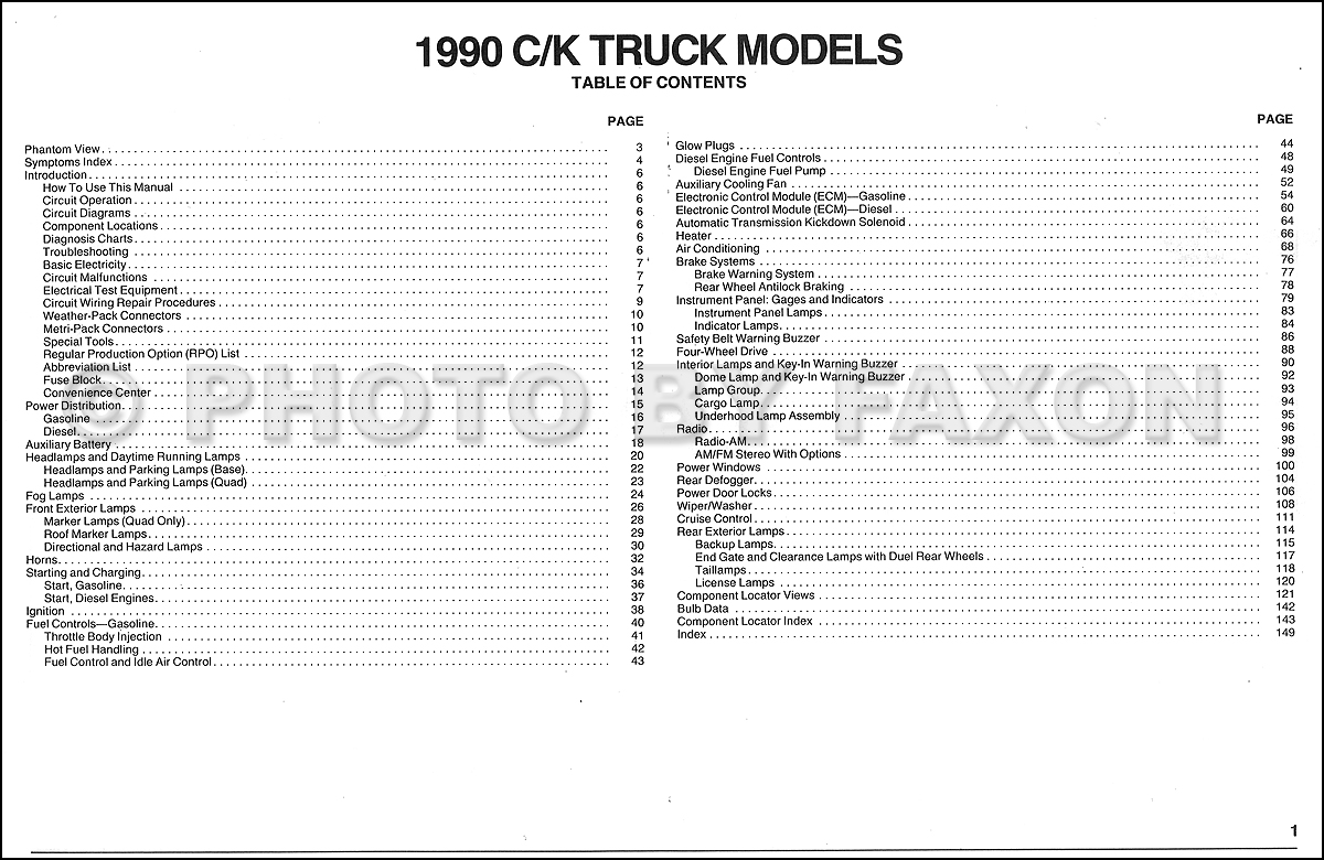 1990 chevy c k pickup wiring diagram manual original