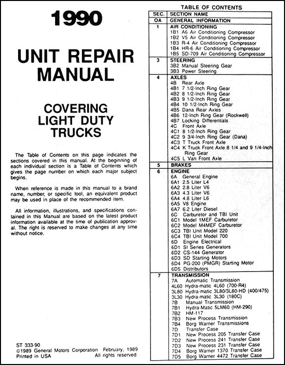 1990 chevy 1  2  3  4   u0026 1 ton truck overhaul manual original