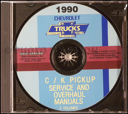 1990 Chevrolet C/K Pickup Service and Overhaul Manuals on CD