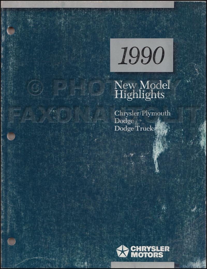 1990 Chrysler Dodge Plymouth Highlights Manual Original Spirit Wiring Diagram