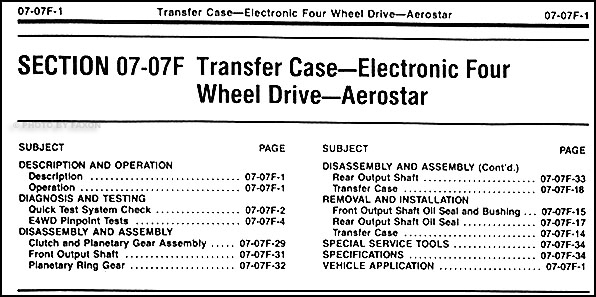 aerostar wheel drive transfer case repair shop manual table of contents