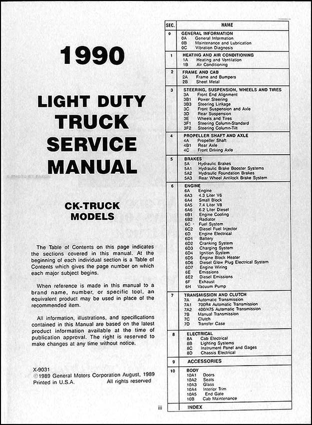 1990 Gmc C  K Sierra Pickup Repair Shop Manual Original