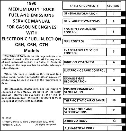 1990 gmc topkick chevy kodiak gas fuel and emissions service manual rh faxonautoliterature com