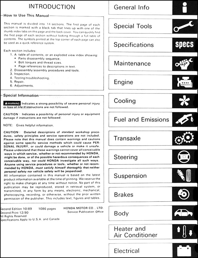 Honda Civic Coupe Crx Workshop Manual by GilbertoEdgar - Issuu