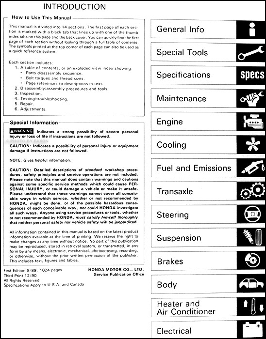 1990HondaCivicORM TOC 1990 honda civic repair shop manual original 1990 honda civic hatchback wiring diagram at gsmx.co
