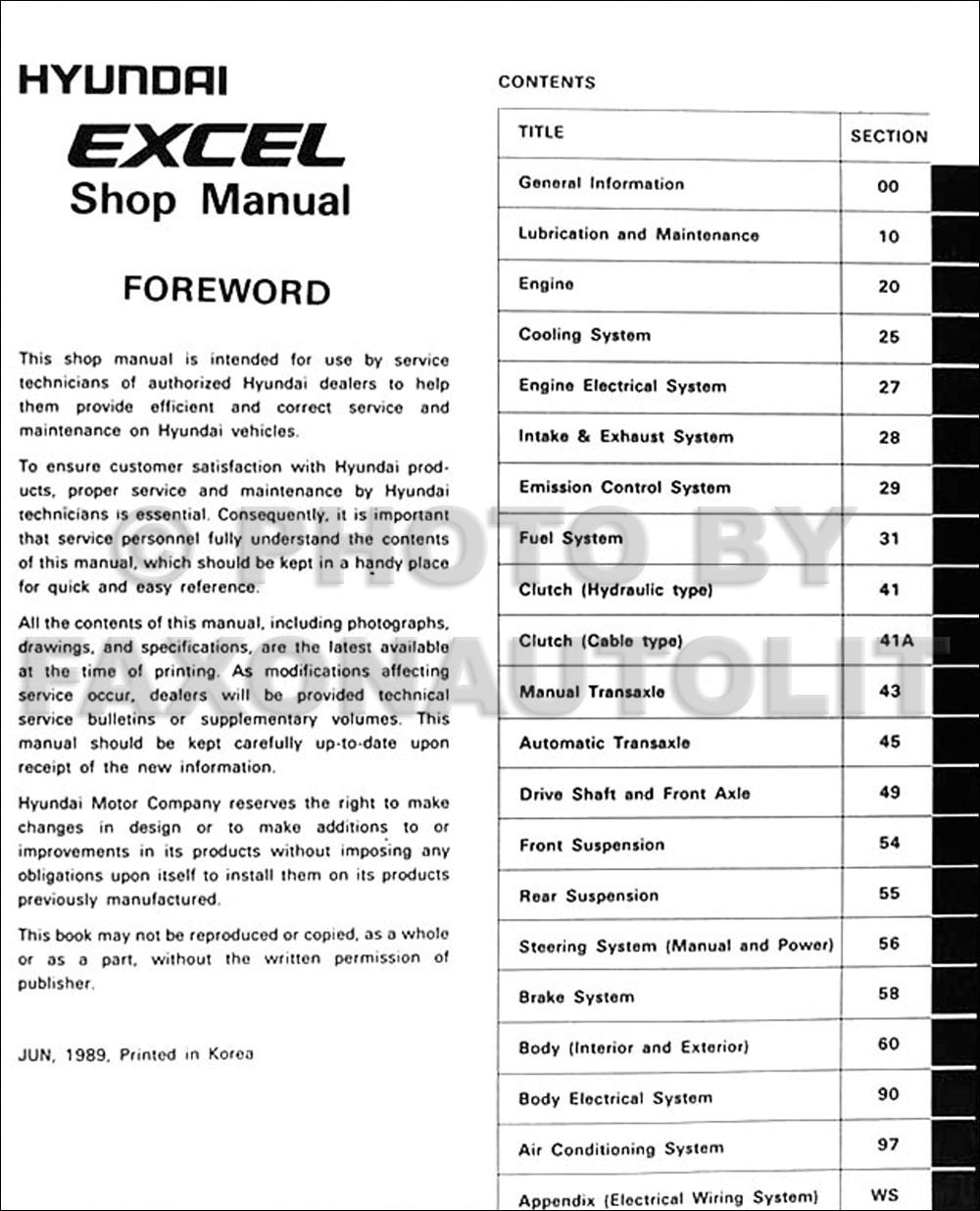 1990 hyundai excel repair shop manual original. Black Bedroom Furniture Sets. Home Design Ideas