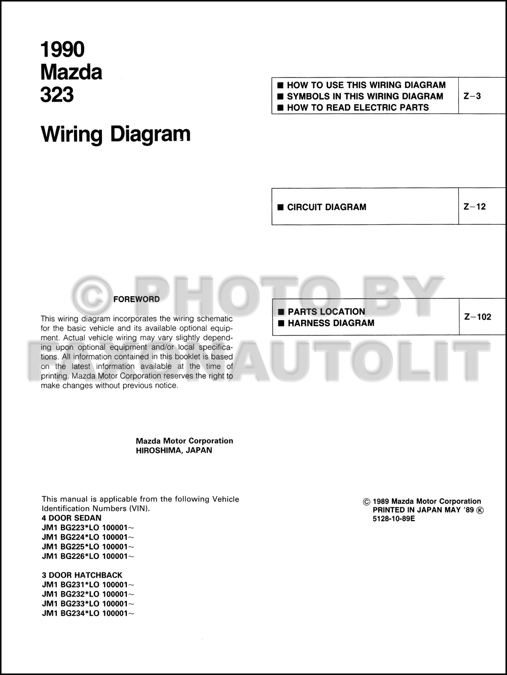 1990 Mazda 323 And Protege Wiring Diagram Manual Original 2wd