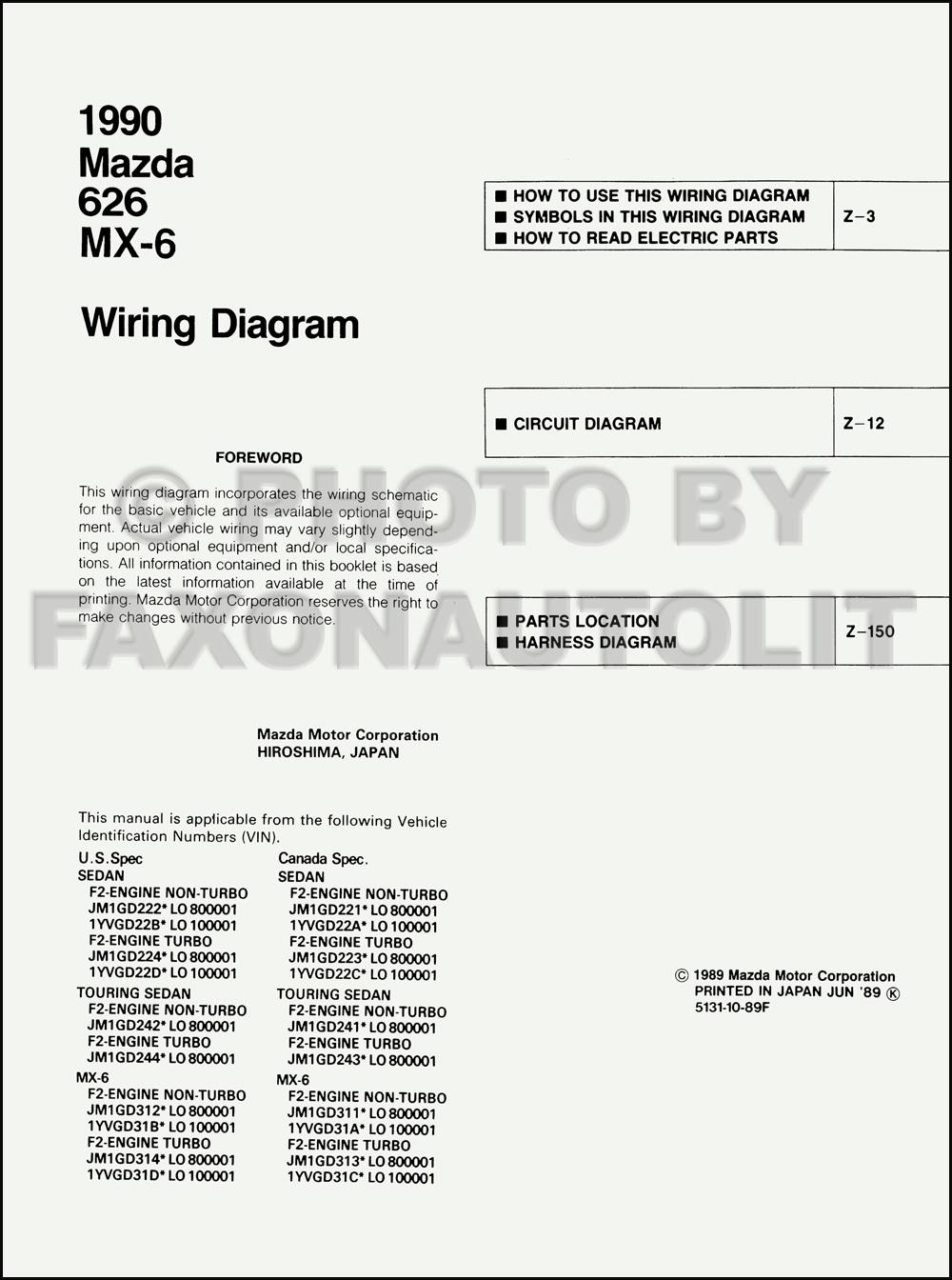 Mazda 626 Wiring Diagram Service Manual : Mazda and mx wiring diagram manual original