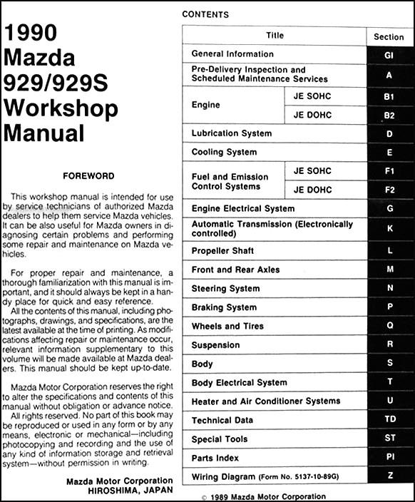 service manual 1989 mazda 929 maintenance manual mazda. Black Bedroom Furniture Sets. Home Design Ideas