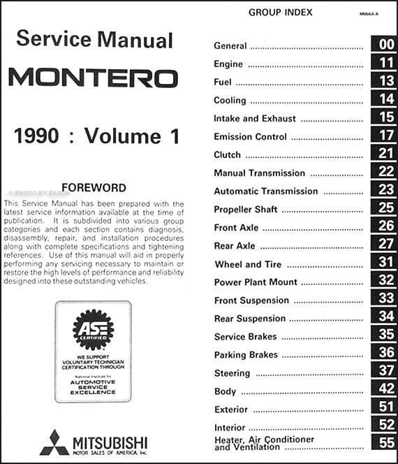 1990 Mitsubishi Montero Repair Shop Manual Set Original