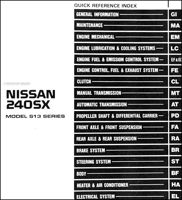 1990 nissan 240sx repair shop manual original rh faxonautoliterature com 1990 Nissan 240SX Starter 1990 Nissan 240SX Hatchback