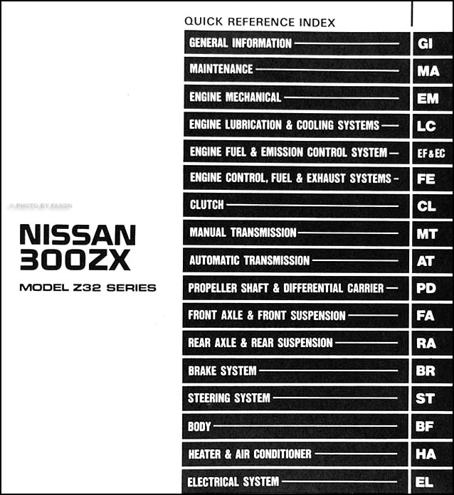 1990 Nissan 300zx Repair Shop Manual Original