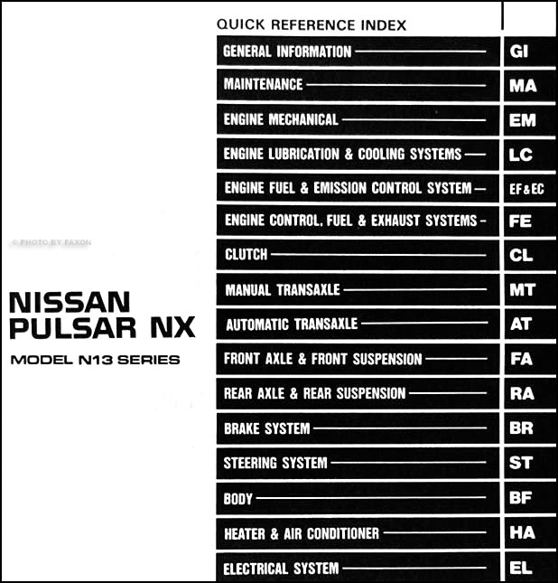 1990NissanPulsarORM TOC 1990 nissan pulsar nx repair shop manual original nissan pulsar wiring diagram at aneh.co