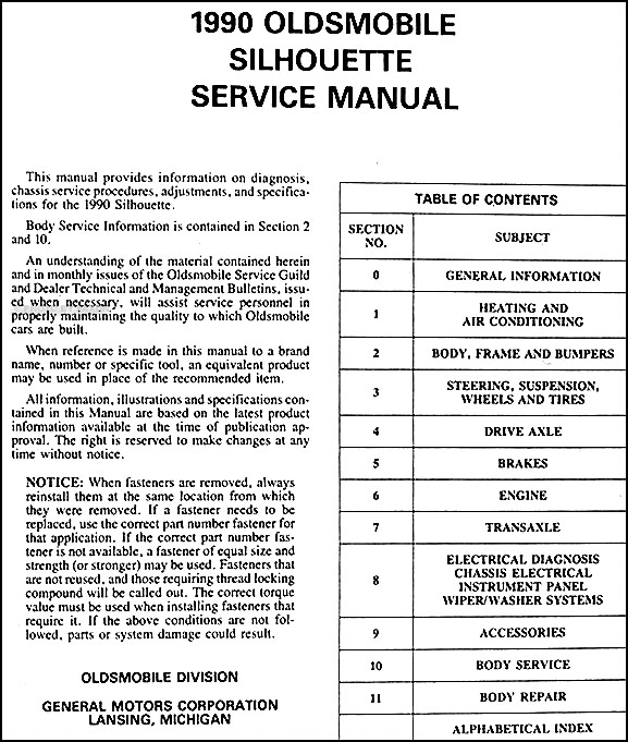 1990OldsSilhouetteORM TOC 1990 oldsmobile silhouette van repair shop manual original 2000 oldsmobile silhouette wiring diagram at creativeand.co