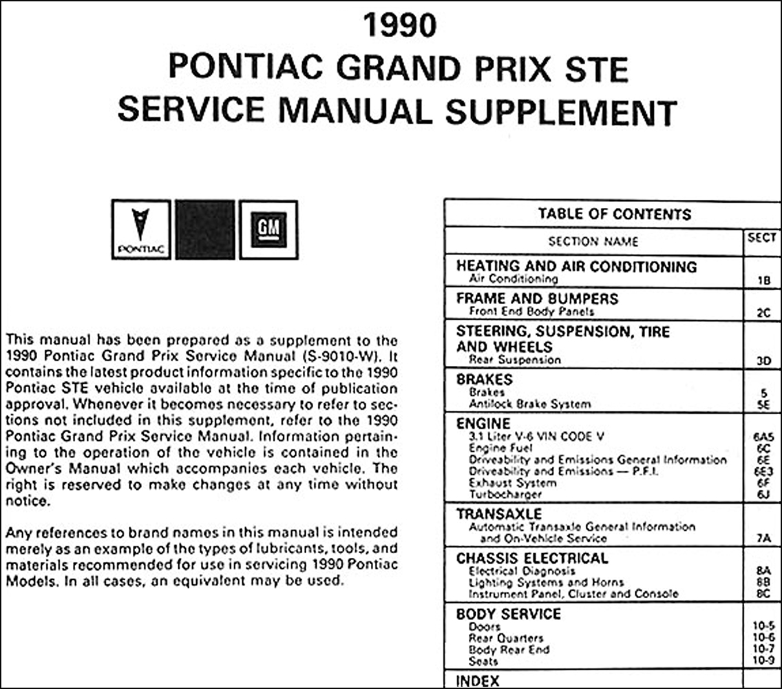 1990-Pontiac-Grand-Prix-STE-Shop-Manual-Supplement-