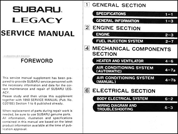 1990 subaru legacy repair shop manual supplement original rh faxonautoliterature com 1993 Subaru Legacy Turbo 1993 subaru legacy service manual